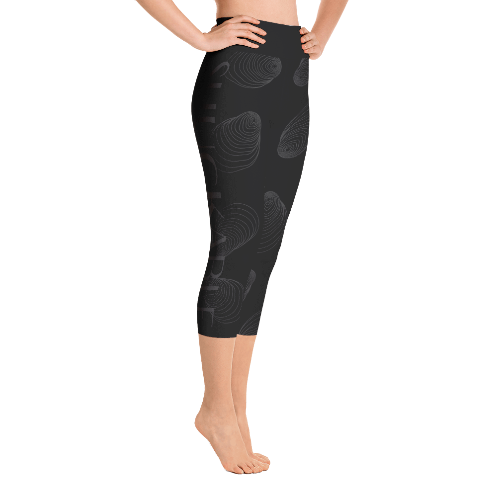 Black and Charcoal Shuckable Shell Yoga Capri Leggings
