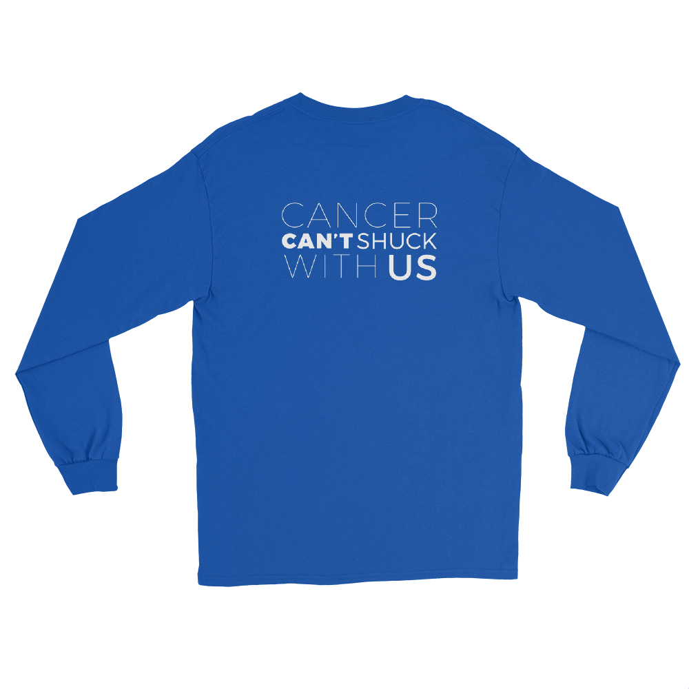 CANCER CAN'T SHUCK WITH US AMERICAN CANCER SOCIETY LONG SLEEVEBLUE