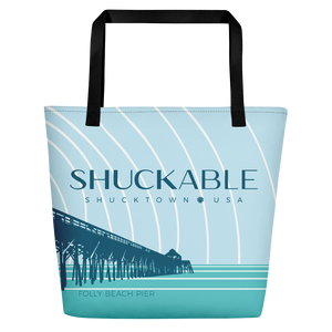 FOLLY BEACH PIER SHUCKABLE BEACH BAG