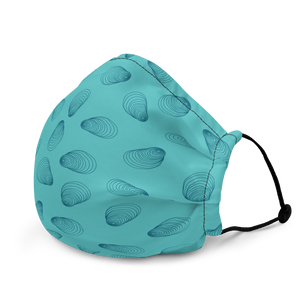 Teal Oyster Pattern Premium face mask