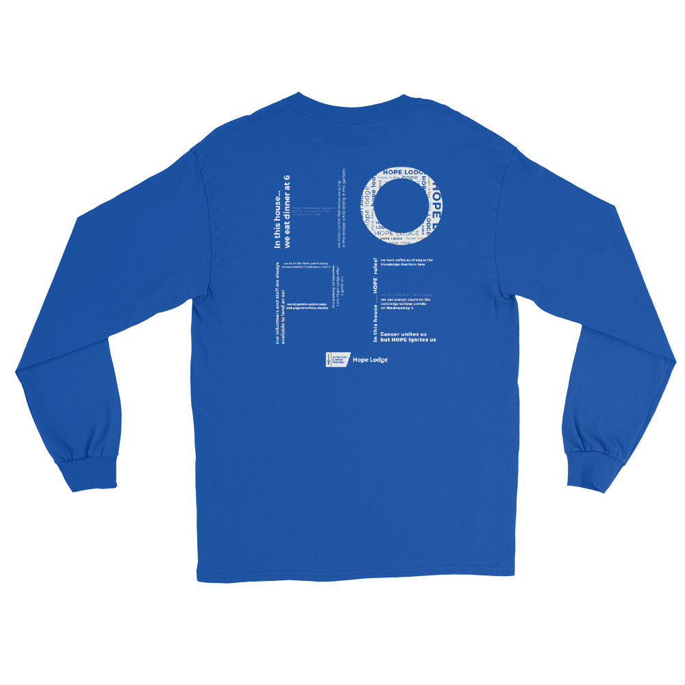 HOPE LODGE AMERICAN CANCER SOCIETY LONG SLEEVE SHIRT BLUE