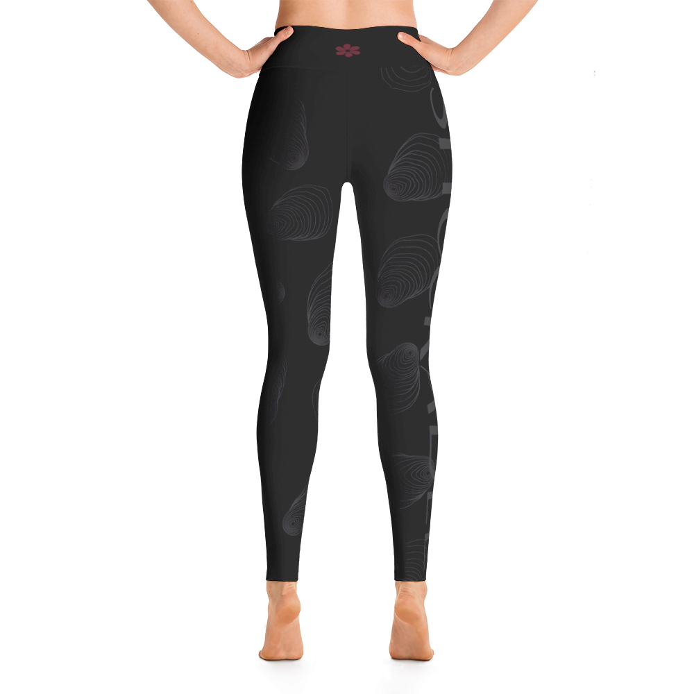 Black and Charcoal Shuckable Shell Yoga Leggings