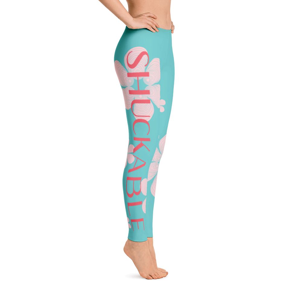SHUCKABLE FLOWER SHELL PATTERN TEAL LEGGINGS