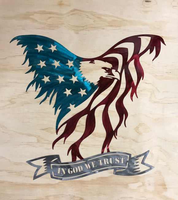 American Eagle Flag In God We Trust Metal Sign Wall Art Home Decor FREE SHIPPING