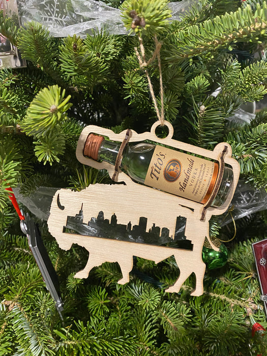 Buffalo Skyline cordial ornament holder little bottles of alcohol