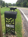 Cat Mailbox topper powder coated steel mail box