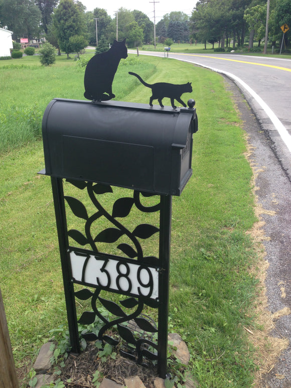 Cat and Kitten Mailbox topper powder coated steel mail box