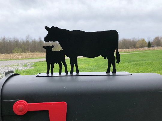 Cow and Calf Mailbox topper powder coated steel mail box