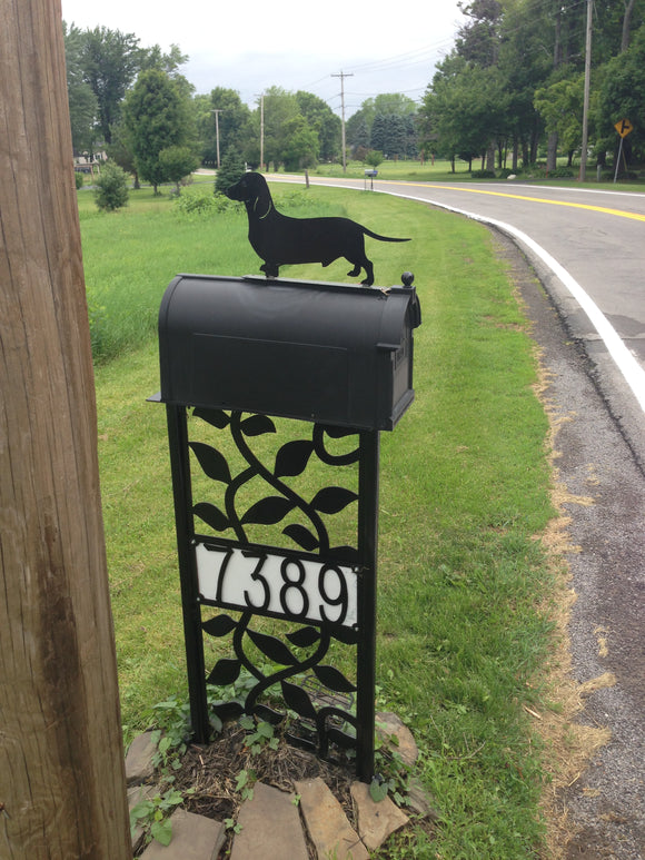 Dog dachshund wiener dog Mailbox topper powder coated steel mail box