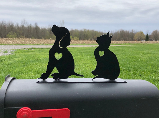 Dog and Cat  Mailbox topper powder coated steel mail box kitten and puppy