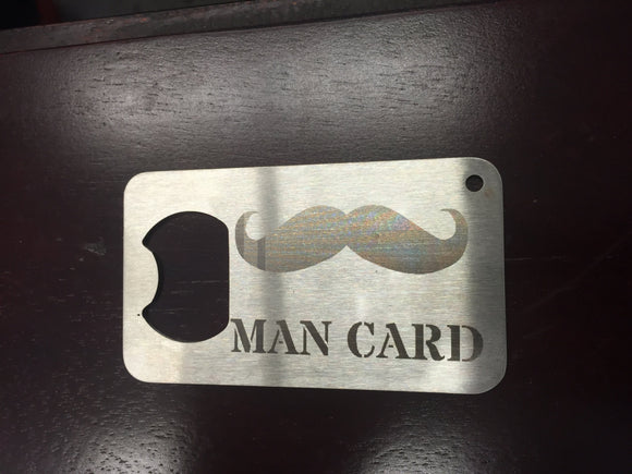 Man card etched bottle opener