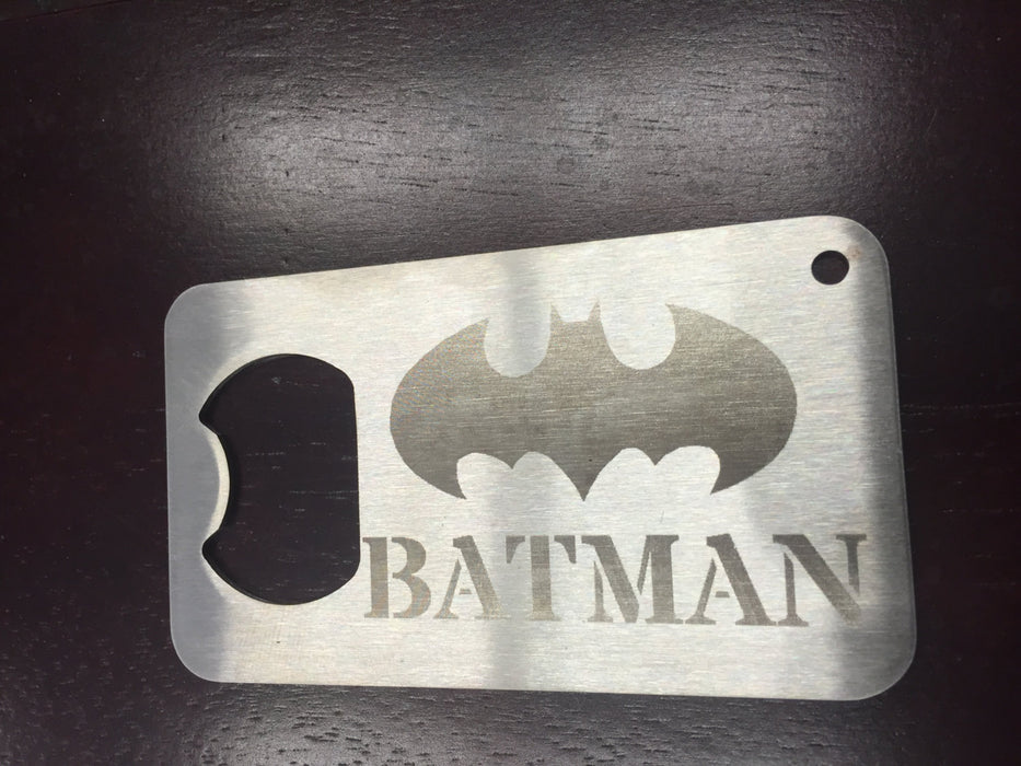 Batman The Dark Knight  Man Card bottle opener   etched old logo Stainless Steel Made to last