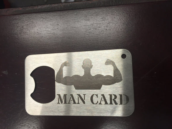 Muscle Man Man card same size as a credit card made from stainless steel metal