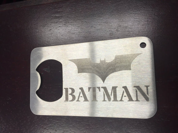 Batman The Dark Knight  Man Card bottle opener etched  new logo Stainless Steel Made to last