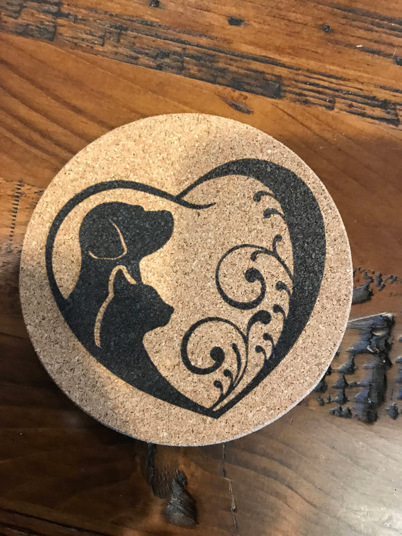 Dog and Cat Cork coaster laser engraved set of 4