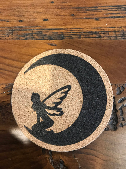 fairy moon  Cork coaster laser engraved set of 4