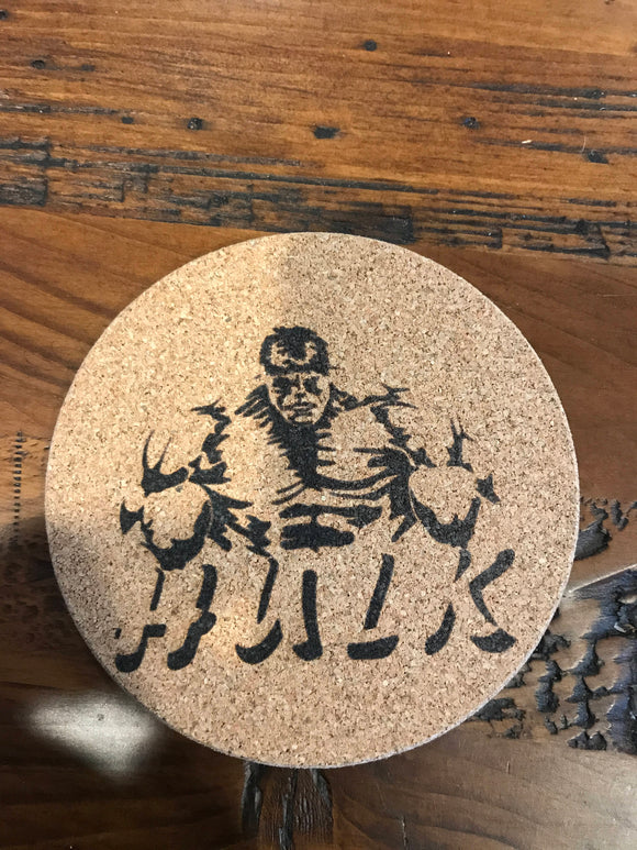 Hulk Cork coaster laser engraved set of 4