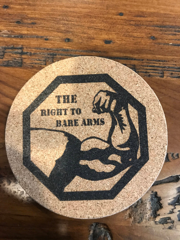 Right To Bear Arms  Cork coaster laser engraved set of 4