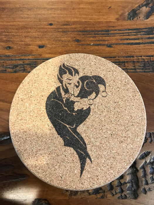 Joker and Harley Quinn  coaster laser engraved set of 4 Batman