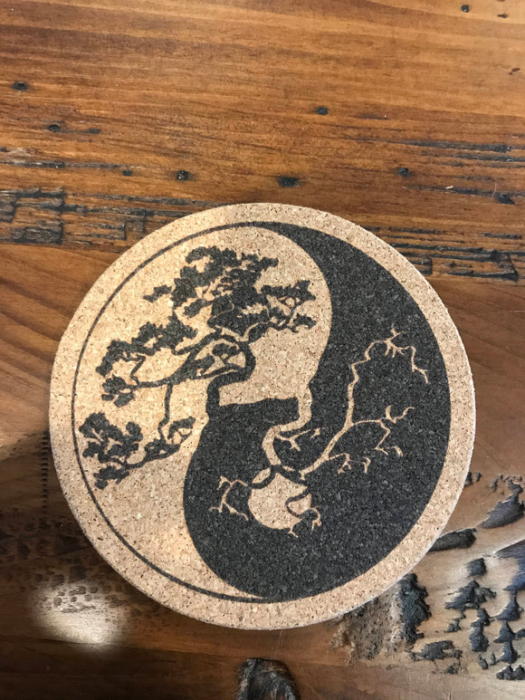tree of life  coaster laser engraved set of 4