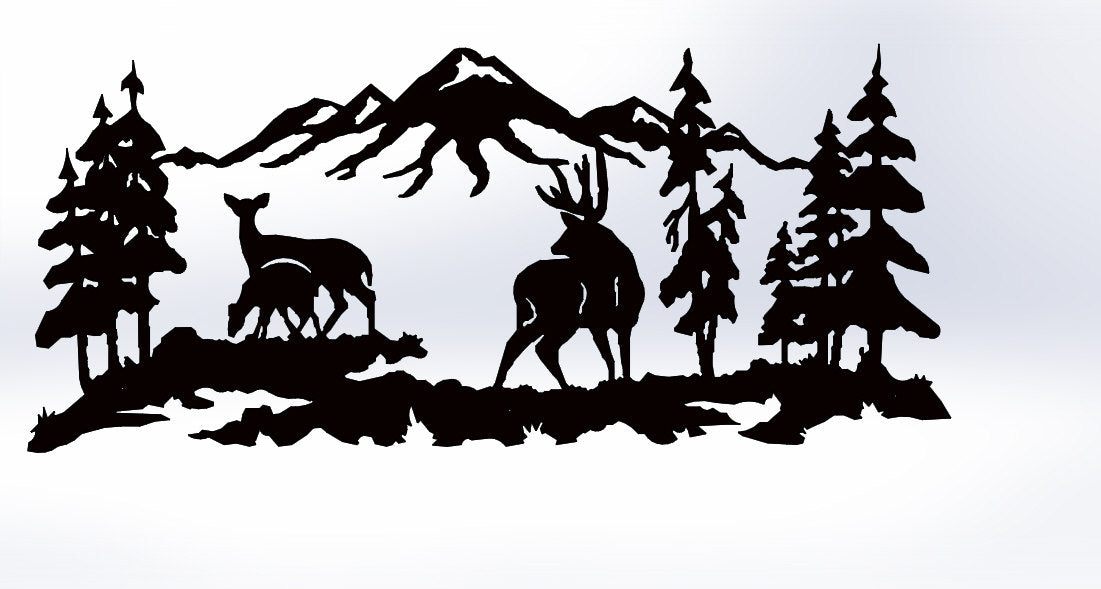 Deer Buck and Doe in the mountains Scene