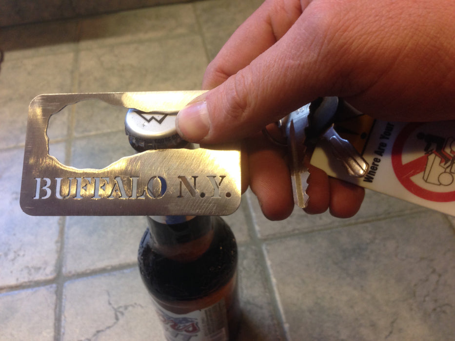 Buffalo New York Card Bottle opener and key chain Chicken Wing  Stainless Steel Made to last