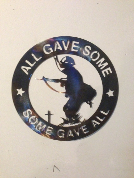 all gave some some gave all metal wall art military sign