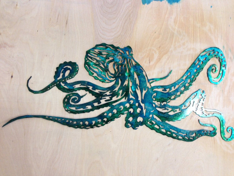 Octopus metal Wall Art - Green