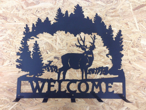 Deer scene coat rack welcome sign with trees