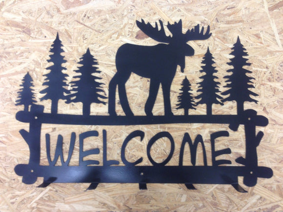 moose scene coat rack welcome sign