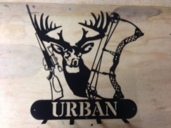 Deer scene coat rack welcome sign can be customized with your name