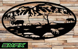 Moose and wolf Scene Metal wall art