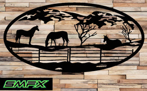 Horse in pasture Scene Metal wall art Oval Insert 15