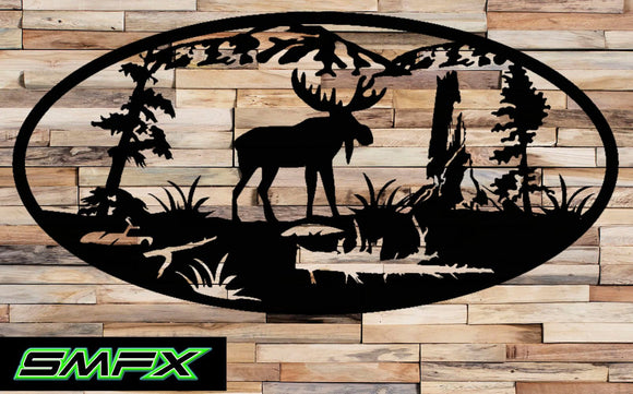 Moose in the mountains Scene Metal wall art