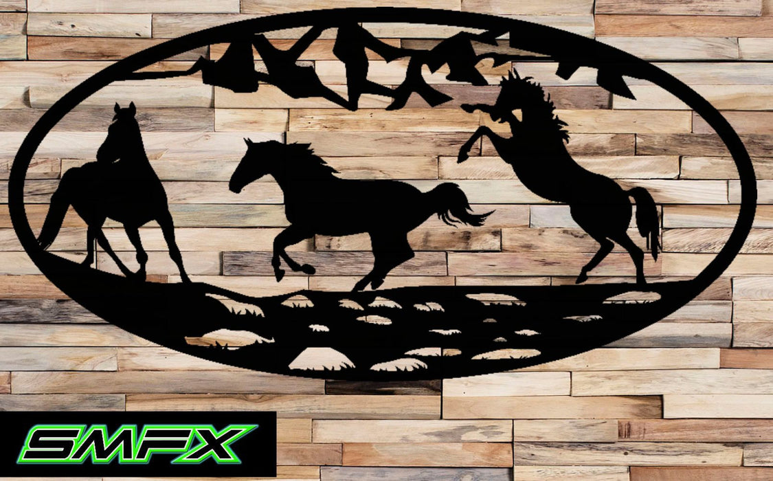 Horses froliking Scene Metal wall art Oval Insert 16