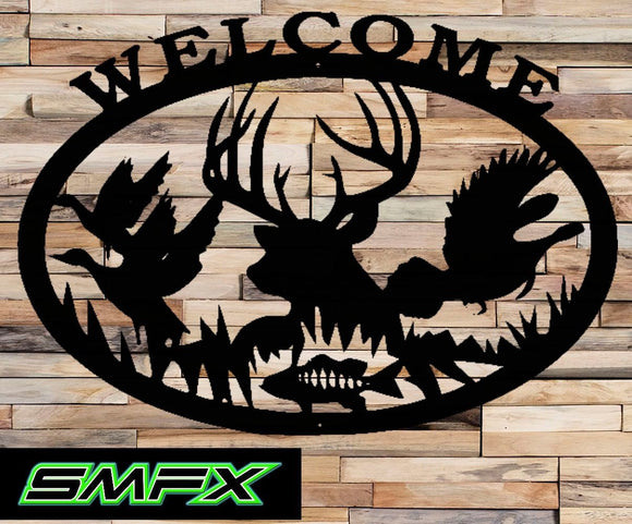 Deer welcome sign large wih ducks fish and phesants
