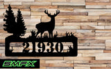 Deer welcome sign house number sign