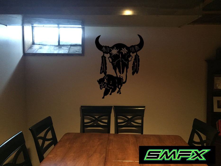 buffalo skull tribal art native american art metal wall art