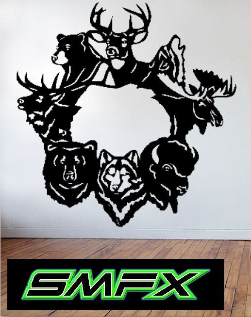 Animal wreath sign Deer Wolf Bear Moose Elk Buffalo