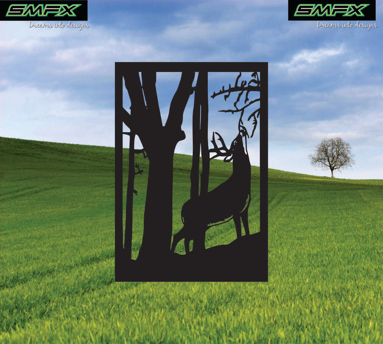Deer standing scene railing insert or wall sing home decor