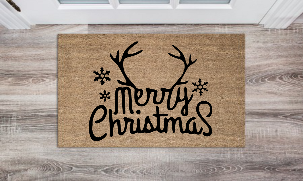 Merry CHristmas Antlers Personalized Doormat Custom Doormat Wedding Gift Housewarming Gift Closing Gift Welcome Doormat Front Door Mat Farmhouse Decor