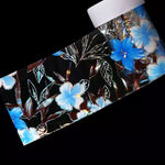 BLUE/BLACK/SILVER FLOWER FOIL