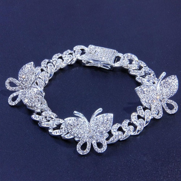 Cuban Link Chain Butterfly Anklet Rhinestone