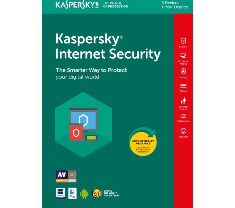 Kaspersky Internet Security 2018 1 Year 3 Devices - Full Protection for your Computer