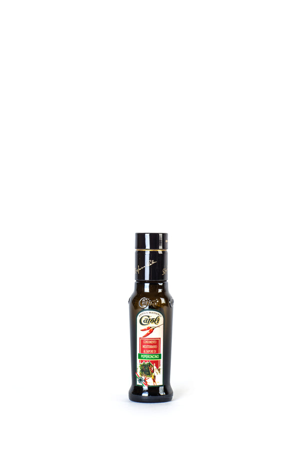 Caroli Italian EVoo Flavored. Cold Pressed. Hot Pepper - 3.4oz Round Bottle