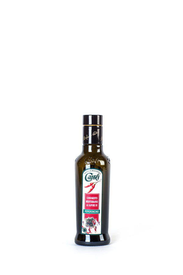 Caroli Italian EVoo Flavored. Cold Pressed. Peperoncino (Hot Pepper) - 8.4 oz Round Bottle