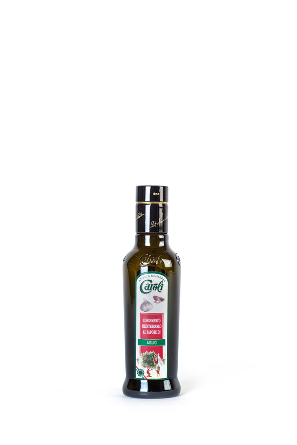 Caroli Italian EVoo Flavored. Cold Pressed. Garlic - 8.4 oz Round Bottle