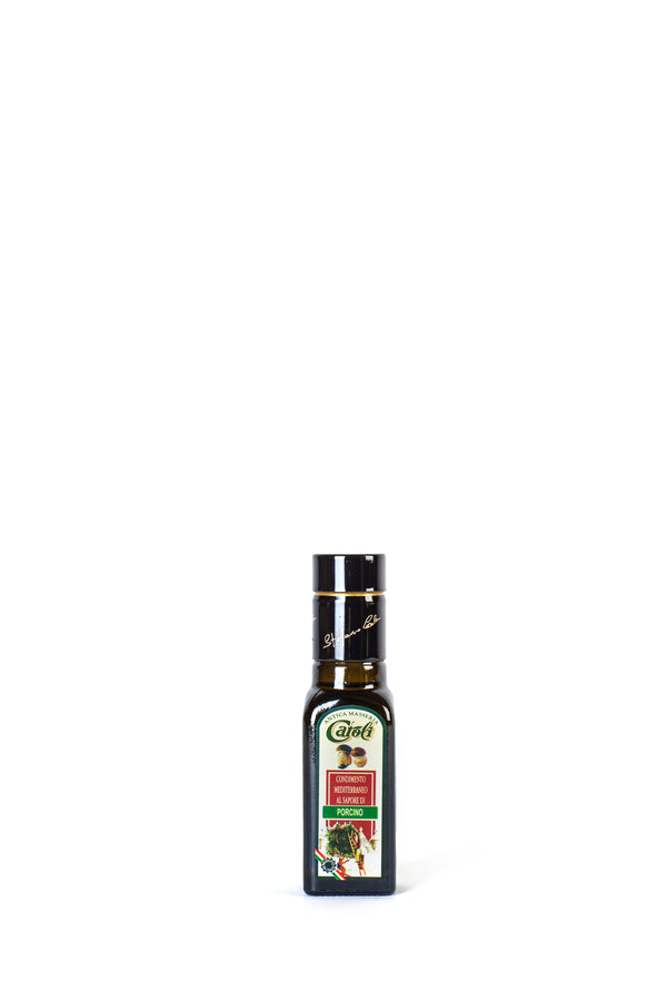 Caroli Italian EVoo Flavored. Cold Pressed. Porcini Mushroom  - 3.4oz Square Bottle