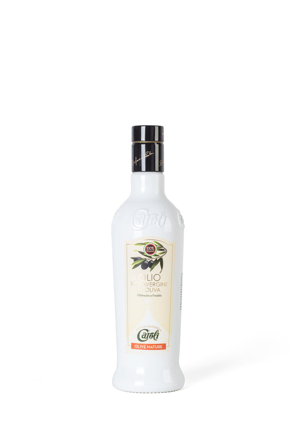 Caroli Italian EVoo 500 mL (16 fl oz). Cold Pressed. Awards Winner Ripe Olives in White Bottle