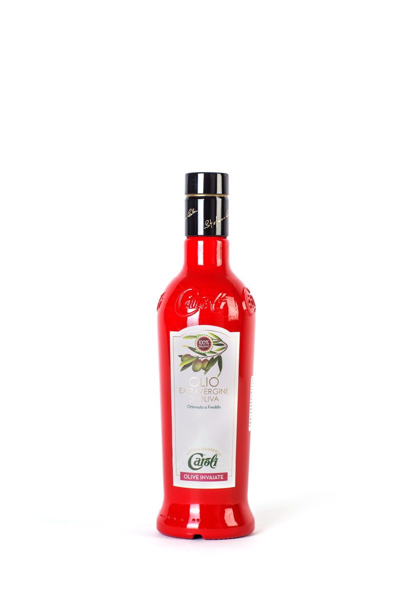 Caroli Italian EVoo 500 mL (16 fl oz). Cold Pressed. Awards Winner Turning Color Olives in Red Bottle